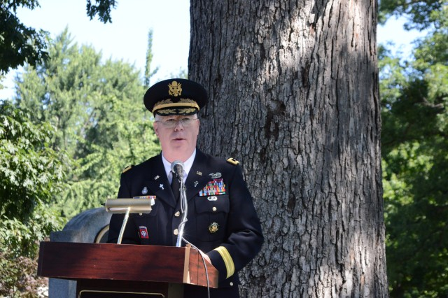 Chaplain (Maj. Gen.) Donald L.  Rutherford, U.S. Army Chief of Chaplains speaks during the Chaplain Corps Anniversary celebration on Chaplains Hill in Arlington National Cemetery, Va., July 25, 2014