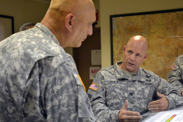 FORT CARSON, COLO. -- Army Chief of Staff Gen. Raymond T. Odierno, left, is given a briefing by Col. Robert T. Ault, right, commander, 4th Combat Aviation Brigade, 4th Infantry Division,  at Butts Army Airfield Flight Tower on Fort Carson, Colo., July 24, 2014.   (Photo by Sgt. Jonathan C. Thibault, 4th Combat Aviation Brigade Public Affairs Office, 4th Infantry Division/Released)