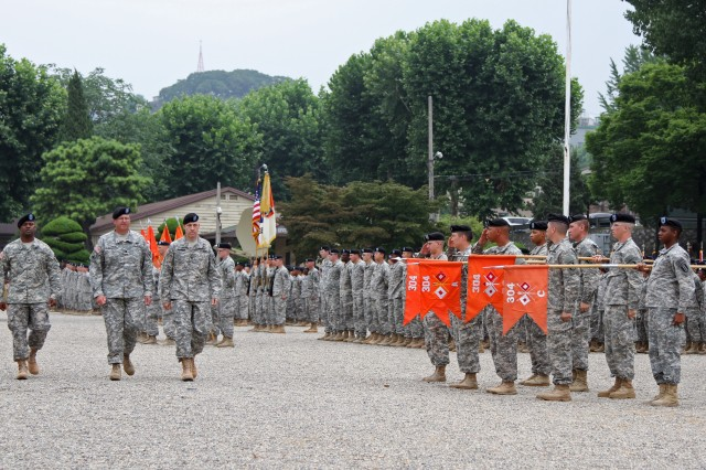 Col. Arvesta P. Roberson, incoming 1st Signal Brigade Commander, Lt. Col. John K. Harris, Deputy Commanding General, 1st Signal Brigade, and Col. Paul H. Fredenburgh III, outgoing commander, inspect their troops at the Brigade's Change of Command Ceremony at USAG Yongsan's Knight Field July 16, 2014. Inspecting the troops is a historical act that allows the commanders to see the condition and welfare of their troops prior to battle. (U.S. Army Photo by Spc. Gregory T. Summers)