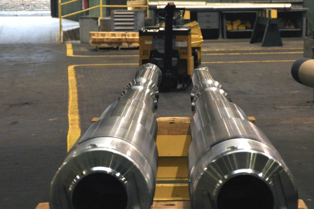 When the Watervliet Arsenal, N.Y., was established in 1813, it was used to provide equipment to U.S. Soldiers during the War of 1812. Today, the arsenal provides equipment such as these two tank cannon barrels that are awaiting the next machining operation.