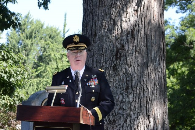 Chaplain (Maj. Gen.) Donald L. Rutherford, U.S. Army chief of chaplains, speaks during the Chaplain Corps Anniversary celebration on Chaplains Hill in Arlington National Cemetery, Va., July 25, 2014.
