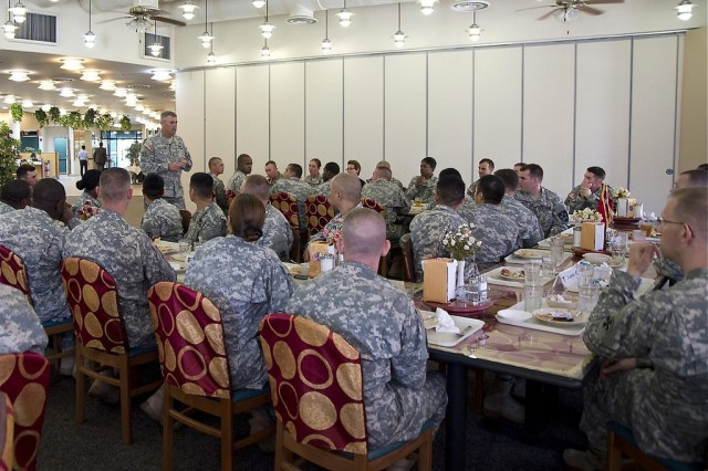 Lt. Gen. David D. Halverson, commander of the U.S. Army Installation Management Command and Assistant Chief of Staff for Installation Management, meets with troops following their lunchtime meal at Camp Humphreys Provider Grill dining facility, July 25.