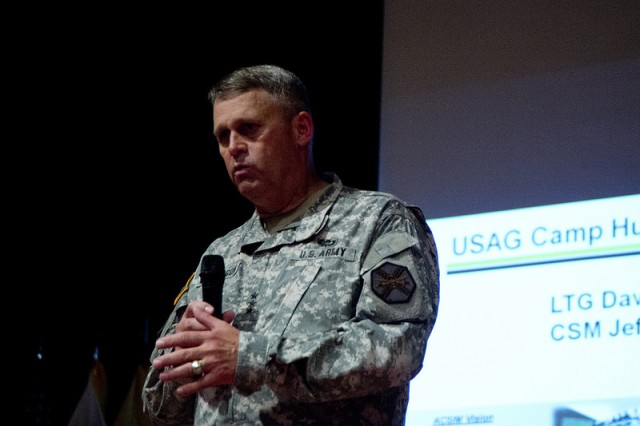 Lt. Gen. David D. Halverson, commander of the U.S. Army Installation Management Command and Assistant Chief of Staff for Installation Management, conducts a town hall meeting and awards ceremony during his July 25 visit to U.S. Army Garrison Humphreys.
