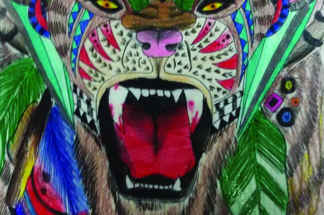 Assigned to Camp Henry's Visual Information Center, PFC Hayley Kate Gardner uses her free time to draw by hand, art such as the the colorful tiger depicted here.