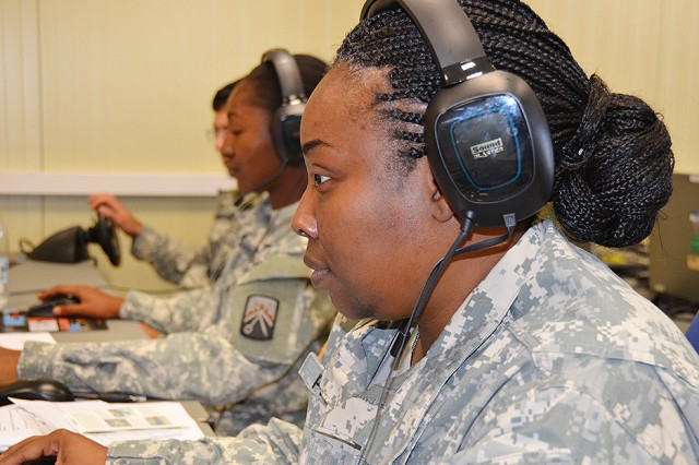 Financial specialists with Charlie Detachment, 106th Financial Management Support Unit, take part in the first ever, networked Europe-wide unit training with sister detachment and headquarters in Germany July 17. More than 20 detachment Soldiers participated in the Virtual Battle Space 2 based deployment exercise from the Mission Training Center on Caserma Ederle, while other components joined the exercise from Baumholder, Kaiserslautern and Grafenwoehr, Germany.