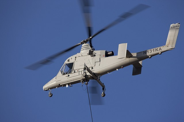The K-MAX helicopter performs operations at Yuma Proving Ground, Ariz., in January 2010.