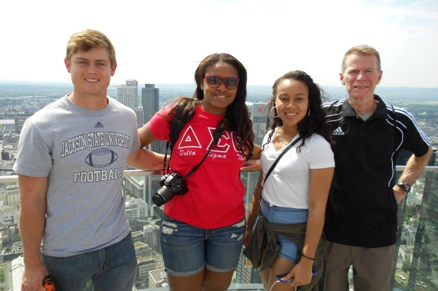 Ryan Deising, Adriann Wilson, Ariel Dowdy and Brian O'Conner represent the U.S. Army Corps of Engineers Europe District's 18th class of Advancing Minorities' Interest in Engineering student interns. The group took a break from work to check out the view of downtown Frankfurt - sightseeing is a perk of their summer assignment in Wiesbaden, Germany.