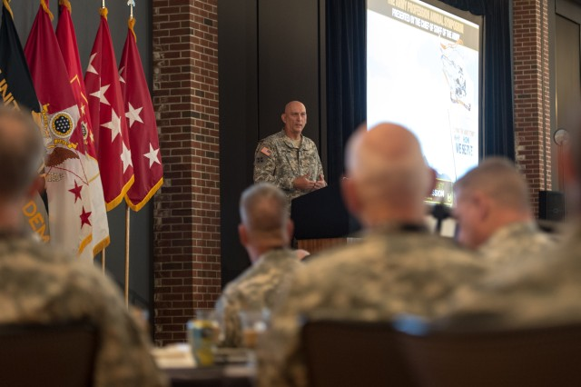 Chief of Staff of the Army Gen. Ray Odierno addresses leaders from all components at the first CSA Army Profession Symposium, held at the U.S. Military Academy at West Point, N.Y., July 30, 2014 (U.S. Army photo by Staff Sgt. Mikki L. Sprenkle/Released)