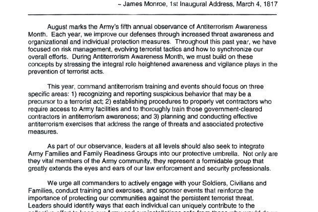 Tri-signed letter announcing the Army's 5th Annual Antiterrorism Awareness Month.