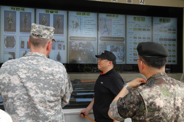 The Korean Defense Intelligence Command displayed a North Korean special operations forces infiltration van, Aug. 1, staged in front of the headquarters of the 19th Expeditionary Sustainment Command for more than 130 Soldiers, here. During senior leader development for Team 19, the KDIC's 40-foot SOF infiltration van displayed a collection of items ranging from clothing, communication devices, weapons, and under water equipment, retrieved from real-life infiltration attempts by North Korean Soldiers. (Photo by Staff Sgt. Cashmere Jefferson, 19th Expeditionary Sustainment Command Public Affairs Office)