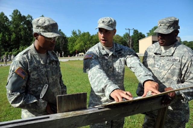 U.S. Army Sgt. Eric Roman (center), instructor, basic rifle marksmanship committee, Task Force Wolf, explains to cadet Kevin Young (left), a University of Texas at San Antonio, the importance of the fundamentals while firing his weapon during Cadet Summer Training (CST) on Fort Knox, Ky., July 25. The basic rifle marksmanship committee, comprised of Reserve Soldiers from 2nd Brigade, 98th Training Division (Initial Entry Training), teach cadets the fundamentals of BRM, facilitate the mechanical zero process, and coach them through the grouping, zeroing and qualification with their assigned M16 rifle. (U.S. Army photo by Staff Sgt. Shejal Pulivarti/released)
