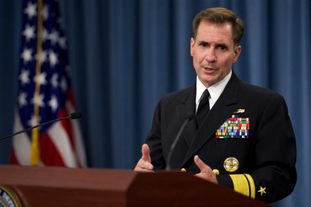 Pentagon Press Secretary Navy Rear Adm. John Kirby briefs reporters at the Pentagon, Aug. 5, 2014.