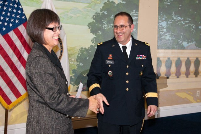 Heidi Shyu, Assistant Secretary of the Army (Acquisition, Logistics and Technology), hosts a promotion ceremony for Maj. Gen. Harold J. Greene at the Fort Myer, Va., Officers Club, Aug. 30, 2012.