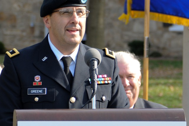 Then-Brig. Gen. Harold Greene, deputy commanding general of the U.S. Army Research, Development and Engineering Command, speaks during Harford Community College's Military Appreciation Day, at Bel Air, Md., Nov. 8, 2010.