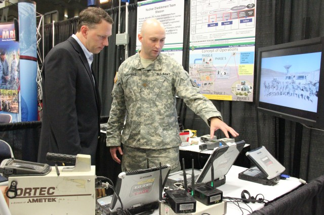 Maj. Zachary Hadfield, 20th CBRNE Nuclear Disablement Team (NDT) member, explains how NDT tools are used during the Team CBRNE Capabilities Showcase, Aug. 6, 2014, at Aberdeen Proving Ground, Md.