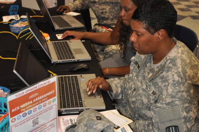 Soldiers take the ACS needs assessment survey during the Jackson Jubilee information fair Aug. 1, 2014, at Fort Jackson's Solomon Center. The survey is available online and is open through Sept. 15.