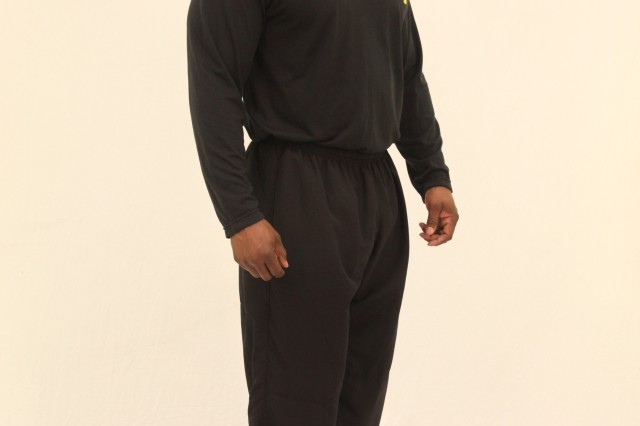 Master Sgt. Dwayne A. Lewis models the Army Physical Fitness Uniform.