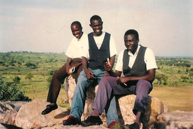 Anthony Lodiong, center, hangs out with some classmates from primary secondary school in 1998. Primary secondary school was located in the Adjumani District in northern Uganda, which is about 50 miles away from the Magburu refugee settlement.