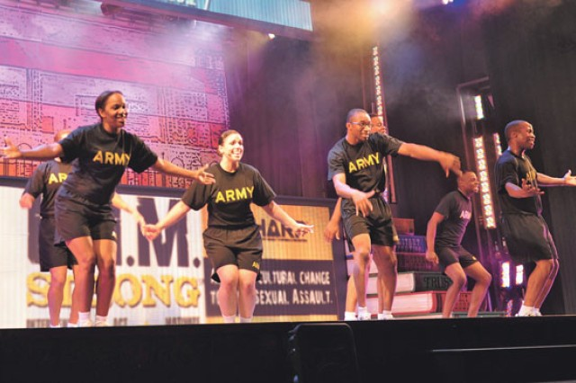 Members of the U.S. Army Soldier Show perform at Abram's Theater July 31.