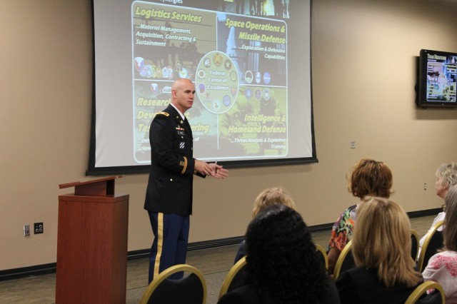 Garrison commander Col. Bill Marks shares the Team Redstone story with teachers at Friday's Back to School professional development opportunity for local educators.