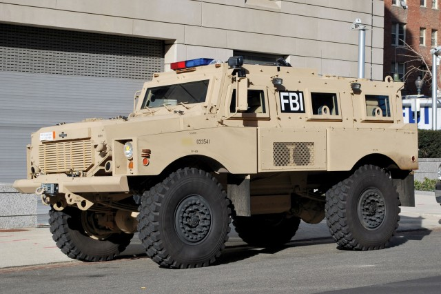 This FBI MRAP exemplifies what law enforcement agencies can gain from the external transfer of military vehicles that might otherwise go through demilitarization or disposal. (Photo courtesy of FBI)