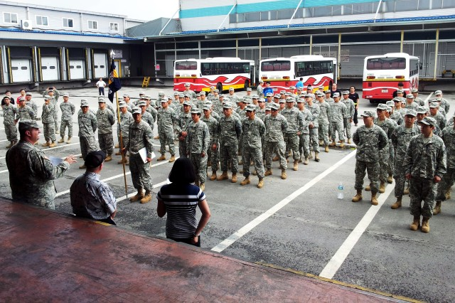 Members of the 33rd Korean Service Corps Company, Eighth Army. participate in a mobilization drill in Seoul July 29-31.