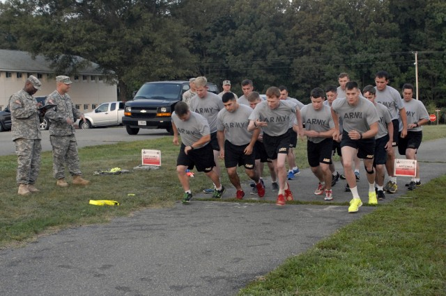 Soldiers from Explosive Ordnance Disposal teams Army-wide kicked off the first-ever EOD Team of the Year competition with a Physical Fitness test on Monday Aug. 11 at Fort A.P. Hill, Va.