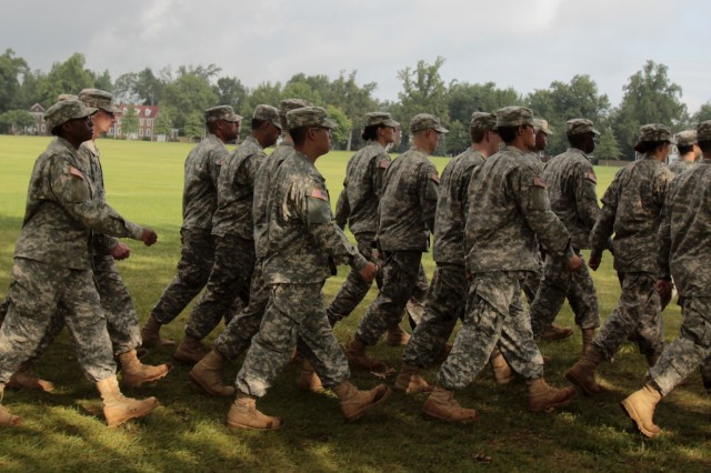 Army ROTC Cadets assigned to the 6th Regiment, Leader's Training Course, march during their graduation ceremony, Aug. 12, 2014, at Fort Knox, Ky.