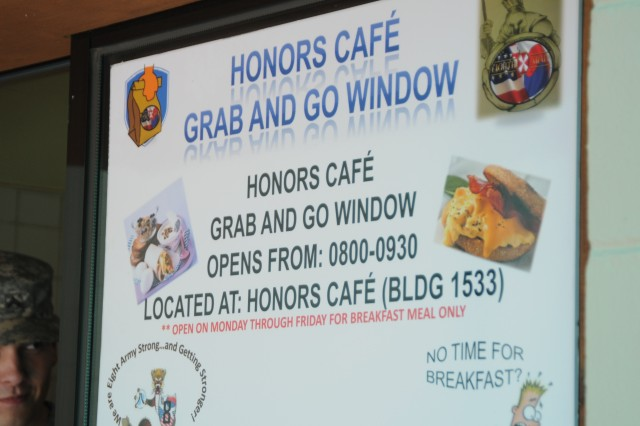 Honore Cafe grab and go window, Yongsan Garrison.