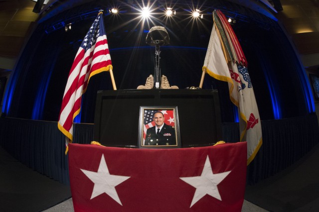 The Army paid tribute in a memorial ceremony at the Pentagon to Maj. Gen. Harold J. Greene, Aug. 13, 2014. Greene was killed in a insider attack while deployed to Afghanistan on Aug 5. He will be interred at Arlington National Cemetery, Va., Aug. 14.