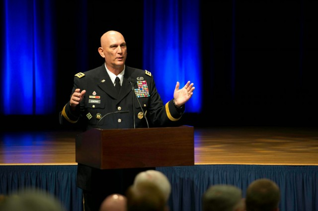 Chief of Staff of the Army Gen. Ray Odierno speaks at the promotion ceremony of Lt. Gen. Karen Dyson, at the Pentagon, Aug. 12, 2014. Dyson joins the ranks of the other female three-star generals currently serving in the Army: Judge Advocate General Lt. Gen. Flora Darpino; Army Surgeon General Lt. Gen. Patricia Horoho; Army Deputy Chief of Staff for Intelligence Lt. Gen. Mary Legere; and Deputy Commanding General of Army Materiel Command Lt. Gen. Patricia McQuistion.