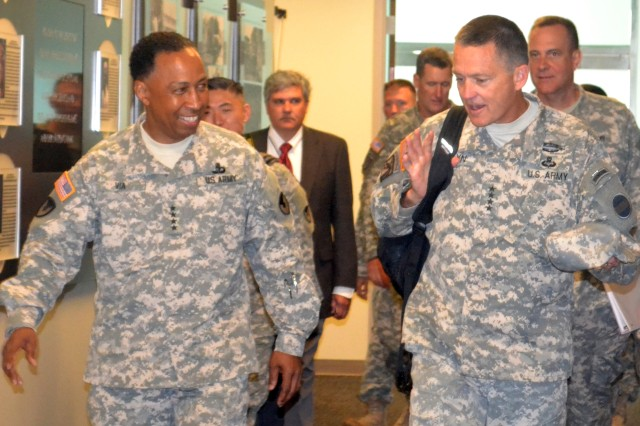 Gen. Dennis L. Via, commanding general of U.S. Army Materiel Command, and Gen. Daniel B. Allyn, commanding general of the U.S. Army Forces Command, meet for an update on AMC's global alignment and role in supporting the Army as its focus shifts to the future.