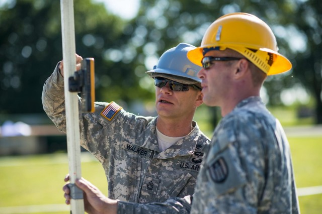Sgt. 1st Class Tim Walker (left), of Northwood, Ohio, and Staff Sgt. Stephen Orodi, of Columbus, Ohio, both with the 486th Engineer Company, establish the slope of a concrete pad before building a wooden hut at the  Joliet Training Area in Elwood, Ill., to prepare the site for a Warrior Training Exercise scheduled for May 2015. The company used this work as an innovative readiness training opportunity to maintain and improve its engineer skills. The Joliet Training Area is the largest local training area run by the 88th Readiness Support Center in the Army Reserve. The 486th Eng. Company falls under the 416th Theater Engineer Command. (U.S. Army photo by Sgt. 1st Class Michel Sauret)
