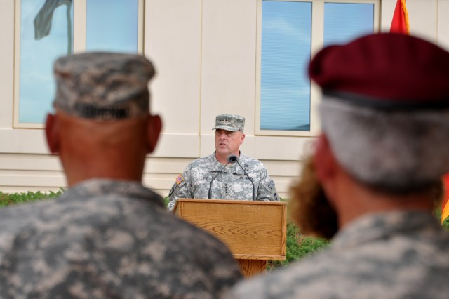 Gen. Mark A. Milley, commanding general, U.S. Army Forces Command, addresses the audience during an Aug. 15, 2014, change-of-command ceremony, at Fort Bragg, N.C. Milley, 56, a native of the Boston area, comes to FORSCOM headquarters from his latest assignment as the commanding general of III Corps and Fort Hood, Texas.
