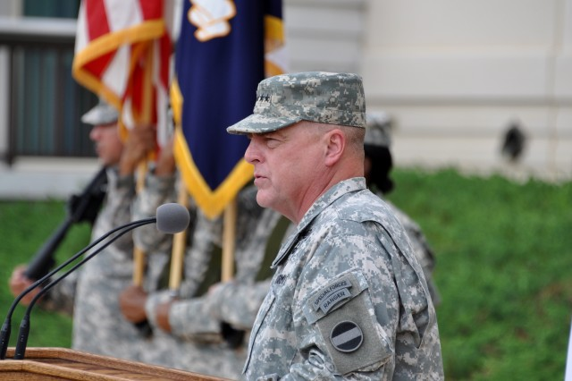 Gen. Mark A. Milley, commanding general, U.S. Army Forces Command, addresses the audience during an Aug. 15, 2014, change-of-command ceremony at Fort Bragg, N.C.  Milley, 56, a native of the Boston area, comes to FORSCOM headquarters from his latest assignment as the commanding general of III Corps and Fort Hood, Texas.
