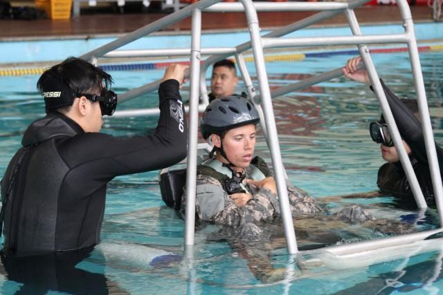 Pilots & crew dive into water survival training