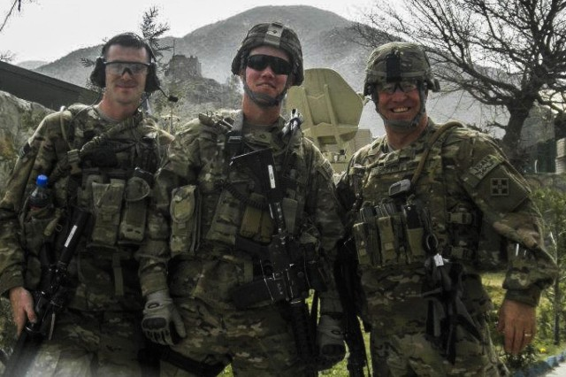 Sgt. Andrew Mahoney (left), Pfc. Benjamin Secor and Command Sgt. Maj. Kevin Griffin (right), all with the 4th Infantry Brigade Combat Team, 4th Infantry Division, on mission during Mahoney's previous deployment to Regional Command-East, Afghanistan, in 2012. Griffin was killed by a suicide bomber attack in Asadabad, Afghanistan, Aug. 8, 2012, the same attack in which Mahoney was wounded.