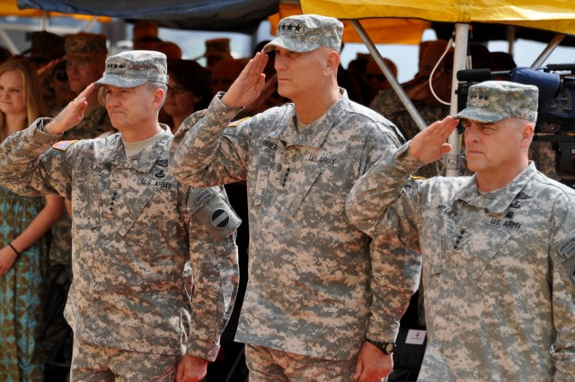 Outgoing U.S. Army Forces Command commanding general, Gen. Daniel B. Allyn, left, Army Chief of Staff Gen. Raymond T. Odierno, center, and incoming FORSCOM Commanding General Gen. Mark A. Milley, each render the hand salute during the playing of the National Anthem, Aug. 15, 2014, at a FORSCOM change-of-command ceremony at Fort Bragg, N.C.