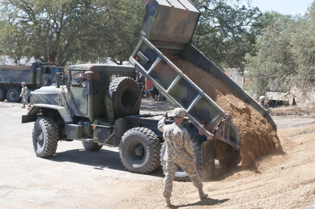 417th Eng. Company prepares lots for paving