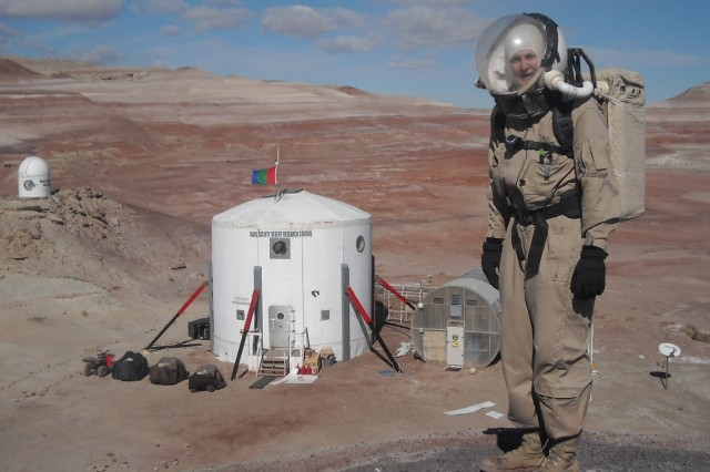 U.S. Army 1st Lt. Heidi Beemer trains as the executive commander and crew geologist at the Mars Desert Research Station in Utah.