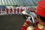 Indonesian band members rehearse for opening ceremony