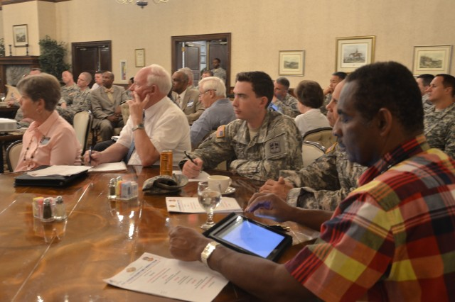 Military chaplains and members of the local clergy attend the Fort Jackson Soldier Family — Ministry Forum Aug. 19, 2014, at the Officers' Club. The forum aims to exchange information about on- and off-post resources available to Soldiers and their families.