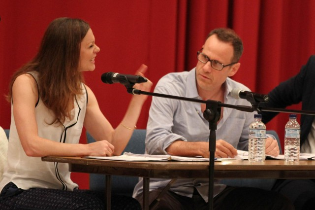 "Actress Erica Newhouse perform a dramatic reading of the play ""Tape"" with Outside the Wire during an innovative Sexual Harassment/Assault Response and Prevention training event here Aug. 5, 2014. The plot of the play presents the audience with a complex scenario of friendship, rape and whistleblowing to provoke candid dialog amongst service members and civilians. (U.S. Army photo by Sgt. Tracy R. Myers, U.S. Army Central)"