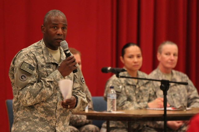 Maj. Gen. Darrell K. Williams, 1st Sustainment Command (Theater) commanding general, thanks Soldiers, civilians and actors for participating in an innovative Sexual Harassment/Assault Response and Prevention training, Aug. 5, 2014. Williams reiterated the fact that sexual harassment and assault has no place in the Army, and it is every Soldiers responsibility to ensure it is responded to appropriately. (U.S. Army photo by Sgt. Tracy R. Myers, U.S. Army Central)