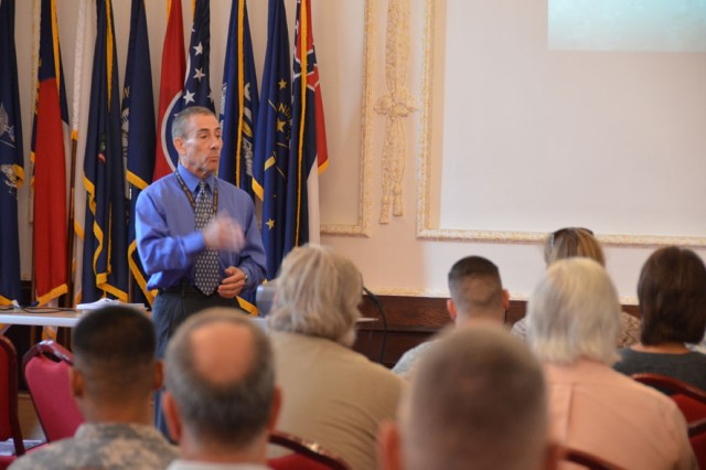 "Tony Garcia, the Comprehensive Soldier and Family Fitness program manager at Wiesbaden, Germany, talks about the CSF2 Executive Resilience and Performance Course. The four-hour course taught U.S. Army Garrison Ansbach Soldiers, civilians and spouses life skills in modules such as ""Hunt the Good Stuff,"" goal setting and active constructive responding at USAG Ansbach's Von Steuben Community Center, Germany, Aug. 18, 2014."