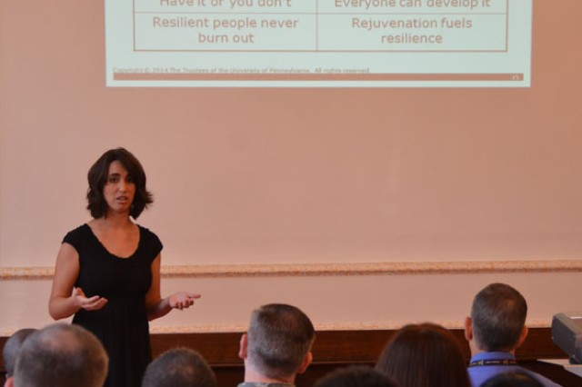"Heidi Nemec, a primary instructor for the Comprehensive Soldier and Family Fitness program, teaches the misconceptions and truths about resilience during the CSF2 Executive Resilience and Performance Course. The four-hour course taught U.S. Army Garrison Ansbach Soldiers, civilians and spouses life skills in modules such as ""Hunt the Good Stuff,"" goal setting and active constructive responding at USAG Ansbach's Von Steuben Community Center, Germany, Aug. 18, 2014."