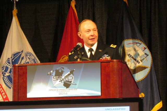 Gen. Chuck Jacoby, commander of U.S. Northern Command, speaks to a large audience at the 2014 Space and Missile Defense Symposium, Aug. 13, 2014, at the Von Braun Center at Redstone Arsenal, Ala. During his comments, he praised the Missile Defense Agency, its leadership and its employees, and emphasized the nation's need for missile defense.