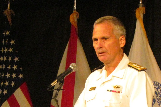 Navy Vice Adm. James Syring, director of the Missile Defense Agency, gives a straightforward presentation on successes, failures and challenges behind developing and testing the nation's long-range ballistic missile defense system during the Space and Missile Defense Symposium on Aug. 13.