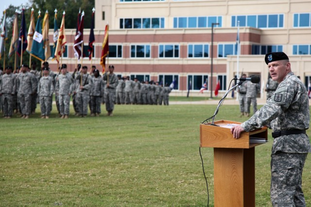 Maj. Gen. Stephen R. Lyons, Combined Arms Support Command and Fort Lee commanding general, addressed the Solders and guests gathered for the Aug. 22 change of command ceremony. He expressed his excitement of being part of the next chapter of shaping the future of Army sustainment, as well as joining the greater Fort Lee community.
