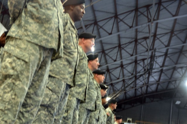 Soldiers of the 80th Training Command (TASS) stand in formation during a change of command ceremony at the Fort Lee, Va., Field House, Aug. 23, 2014. Maj. Gen. A.C. Roper assumed command of the 80th TC in a ceremony officiated by Maj. Gen. Marcia Anderson, Deputy Chief of the Army Reserve.